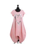 Italian Foil Heart Print Dipped Hem Cotton Tunic Slouch Dress-Pink