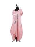 Italian Foil Heart Print Dipped Hem Cotton Tunic Slouch Dress-Pink side