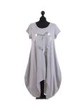 Italian Foil Heart Print Dipped Hem Cotton Tunic Slouch Dress-Silver