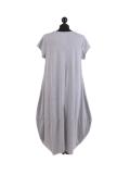 Italian Foil Heart Print Dipped Hem Cotton Tunic Slouch Dress-Silver back