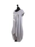 Italian Foil Heart Print Dipped Hem Cotton Tunic Slouch Dress-Silver side