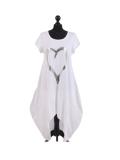 Italian Foil Heart Print Dipped Hem Cotton Tunic Slouch Dress-White