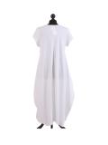 Italian Foil Heart Print Dipped Hem Cotton Tunic Slouch Dress-White back