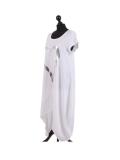 Italian Foil Heart Print Dipped Hem Cotton Tunic Slouch Dress-White side