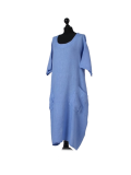 Italian Front Pockets Plain Linen Lagenlook Dress-Light denim side