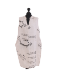Italian Made Writing Print Sleeveless Linen Lagenlook Dress-beige