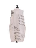 Italian Made Writing Print Sleeveless Linen Lagenlook Dress-beige back