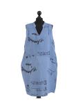 Italian Made Writing Print Sleeveless Linen Lagenlook Dress-Denim
