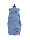 Italian Made Writing Print Sleeveless Linen Lagenlook Dress-Denim back