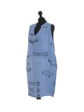 Italian Made Writing Print Sleeveless Linen Lagenlook Dress-Denim side