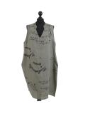 Italian Made Writing Print Sleeveless Linen Lagenlook Dress-Khaki
