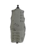 Italian Made Writing Print Sleeveless Linen Lagenlook Dress-Khaki back