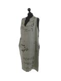 Italian Made Writing Print Sleeveless Linen Lagenlook Dress-Khaki side