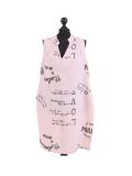 Italian Made Writing Print Sleeveless Linen Lagenlook Dress-Pink