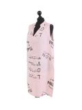 Italian Made Writing Print Sleeveless Linen Lagenlook Dress-Pink side