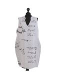Italian Made Writing Print Sleeveless Linen Lagenlook Dress-Silver