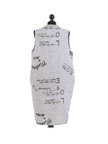 Italian Made Writing Print Sleeveless Linen Lagenlook Dress-Silver back