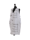 Italian Made Writing Print Sleeveless Linen Lagenlook Dress-silver side