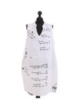 Italian Made Writing Print Sleeveless Linen Lagenlook Dress-White