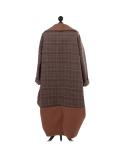 Italian Plaid Check Print Side Pockets Lagenlook Cardigan-Camel back