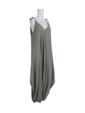 Italian Plain Cami Strappy Side Pocket Lagenlook Jumpsuit-Khaki