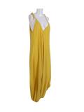 Italian Plain Cami Strappy Side Pocket Lagenlook Jumpsuit-Mustard