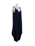 Italian Plain Cami Strappy Side Pocket Lagenlook Jumpsuit-navy