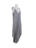 Italian Plain Cami Strappy Side Pocket Lagenlook Jumpsuit-Silver