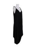 Italian Plain Cami Strappy Side Pocket Lagenlook Jumpsuit-Black