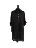 Italian Plain Front Buttons & Pockets Linen Lagenlook Top-Black