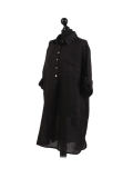 Italian Plain Front Buttons & Pockets Linen Lagenlook Top-Black side