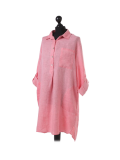Italian Plain Front Buttons & Pockets Linen Lagenlook Top-Coral side