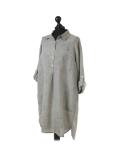 Italian Plain Front Buttons & Pockets Linen Lagenlook Top-Khaki side