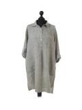 Italian Plain Front Buttons & Pockets Linen Lagenlook Top-Khaki