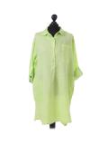 Italian Plain Front Buttons & Pockets Linen Lagenlook Top-Lime