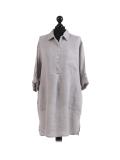 Italian Plain Front Buttons & Pockets Linen Lagenlook Top-Silver