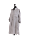 Italian Plain Front Buttons & Pockets Linen Lagenlook Top-Silver side