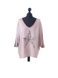 Italian Plain Frontside Glittery Star Batwing Knitted Lagenlook Top-Camel