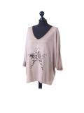 Italian Plain Frontside Glittery Star Batwing Knitted Lagenlook Top-Camel side