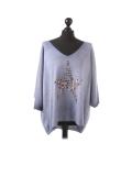 Italian Plain Frontside Glittery Star Batwing Knitted Lagenlook Top-Denim
