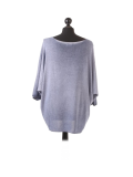 Italian Plain Frontside Glittery Star Batwing Knitted Lagenlook Top-Denim back