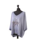 Italian Plain Frontside Glittery Star Batwing Knitted Lagenlook Top-Denim side