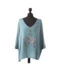 Italian Plain Frontside Glittery Star Batwing Knitted Lagenlook Top-Green