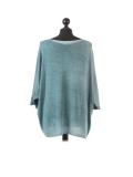 Italian Plain Frontside Glittery Star Batwing Knitted Lagenlook Top-Green back