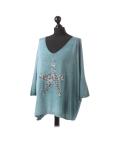 Italian Plain Frontside Glittery Star Batwing Knitted Lagenlook Top-Green side