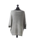 Italian Plain Frontside Glittery Star Batwing Knitted Lagenlook Top-Khaki back