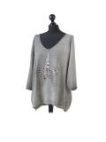 Italian Plain Frontside Glittery Star Batwing Knitted Lagenlook Top-Khaki side
