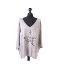 Italian Plain Frontside Glittery Star Batwing Knitted Lagenlook Top-Mocha