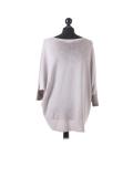 Italian Plain Frontside Glittery Star Batwing Knitted Lagenlook Top-Mocha back