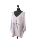 Italian Plain Frontside Glittery Star Batwing Knitted Lagenlook Top-Mocha side